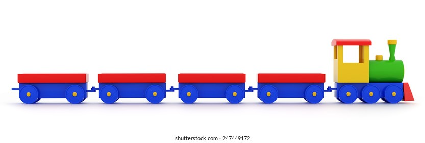 Toy locomotive with carriages on a white background