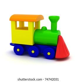 Toy locomotive isolated