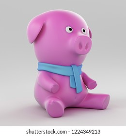 Toy pig character sitting on a white background wearing a blue scarf. 3d rendering