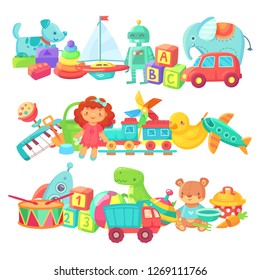 Toy piles. Kids toys groups. Cartoon baby doll and train, rocket ball elephant plastic drum and cars, boat for kid game gift box cute colorful isolated children  set