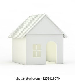 Toy plastic house model on white. 3D rendering