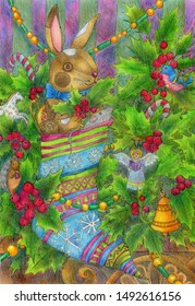 Toy rabbit. Christmas present in sock. The drawing is made with ink and colored pencils. Cute illustration for the decor and design of posters, postcards, prints, stickers, invitations, textiles.