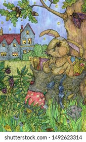 Toy rabbit. The drawing is made with ink and colored pencils. Cute illustration for the decor and design of posters, postcards, prints, stickers, invitations, textiles and stationery.