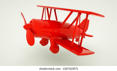 toy red biplane made of plastic. 3d rendering illustration