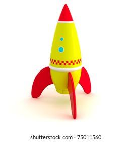 Toy rocket isolated