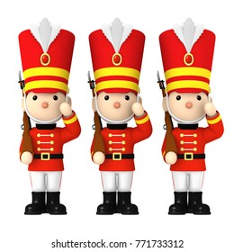 Toy soldiers,  3D illustration