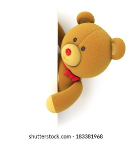Toy teddy bear with blank board. Hiding behind the corner. Isolated on white background. 3d render
