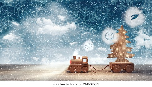 Toy train arriving with Christmas tree at snowy winter night 3D Rendering, 3D Illustration