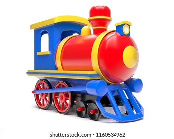 Toy Train Isolated On White Background. 3d Render Illustration.