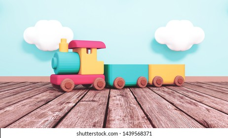 Toy train on wooden floor. 3d rendering picture.