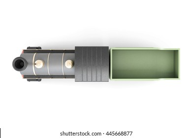 Toy train. Top view. 3d model isolated on white background.
