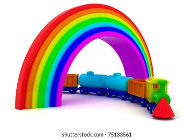 Toy train under rainbow bridge