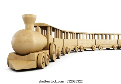 Toy wooden train isolated on white background. 3d illustration.