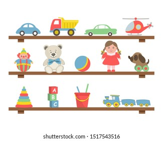 Toys on the shelves. There are cars, a helicopter, teddy bears, a doll, a ball, a train, a dog, a clown, a pyramid, cubes and other items in the picture. Toys for little children. Raster