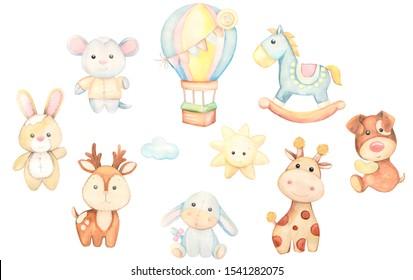 Toys watercolor set. Children's illustration. On white background. Horse, balloon, Bunny, dog, deer, donkey, giraffe, sun, mouse, cloud.