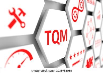 TQM concept cell blurred background 3d illustration