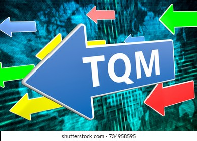 TQM - Total Quality Management - text concept on blue arrow flying over green world map background. 3D render illustration.