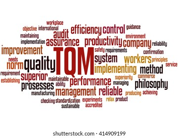 TQM - Total Quality Management, word cloud concept on white background.