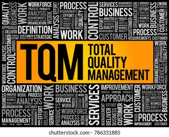 TQM - Total Quality Management word cloud, business concept background
