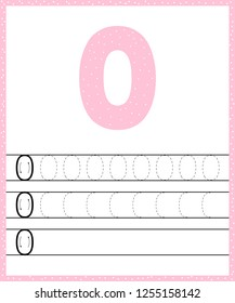 Trace line number for kindergarten and preshool kids. Write a null. Pastel color pink. Dot background.  illustration.