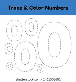 Trace line number for kindergarten and preshool kids. Write and color a null. Illustration.