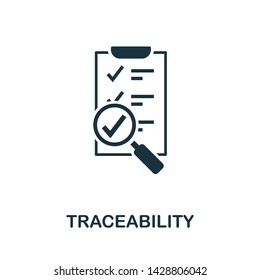 Traceability icon illustration. Creative sign from quality control icons collection. Filled flat Traceability icon for computer and mobile. Symbol, logo graphics.