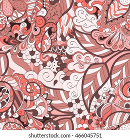 Tracery seamless calming pattern. Mehendi design. Ethnic red doodle texture. Indifferent discreet. Curved doodling mehndi motif.