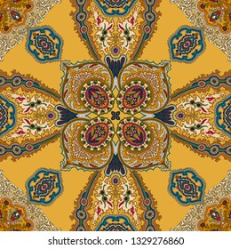 Tracery seamless calming pattern. Vintage decorative element with mandala.Islam, Turkish, Arabic, Indian, ottoman motifs. Ethnic colorful doodle texture. Silk scarf design on yellow background.