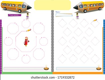 tracing dashed lines , tracing worksheet , preschool and kindergarten worksheet , exercises for kids for practicing motor skills , tracing paper for kids to Learn skills before starting to write