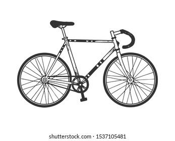 Track bike sport bicycle sketch engraving raster illustration. T-shirt apparel print design. Scratch board style imitation. Hand drawn image.