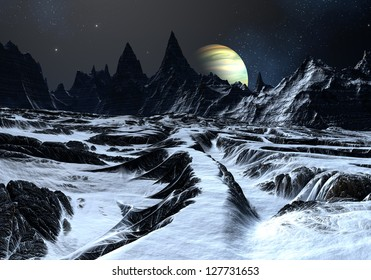Track over twisted surface on alien planet towards distant mountains.