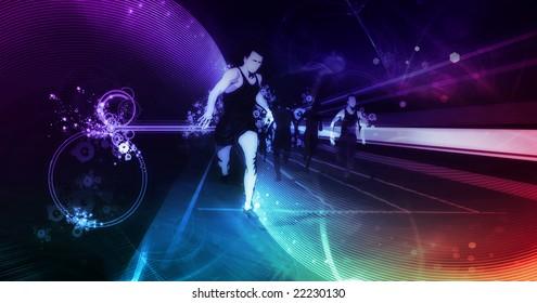 track runners illustration  on digital background