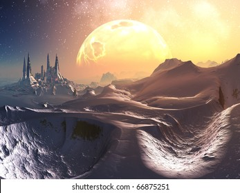 Track through snowy mountains to alien futuristic city with huge fiery planet in orbit above.