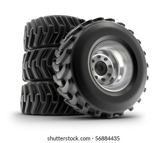 Tractor heavy wheels set isolated on white . My own design
