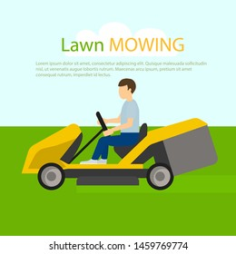 Tractor lawn mowing concept background. Flat illustration of tractor lawn mowing concept background for web design
