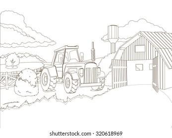Tractor on the farm coloring book raster version