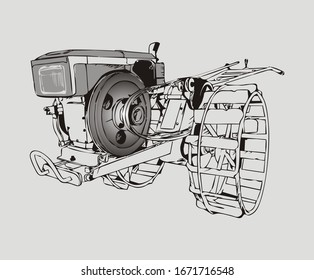 A Tractor for Plowing a Rice Field Described Through Cartoon Illustrations