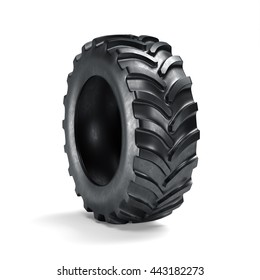 Tractor tyre isolated on white background. 3d rendering