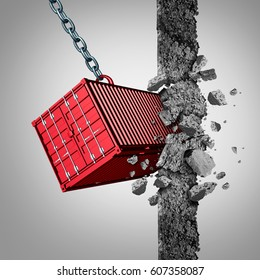 Trade barrier concept and breaking economic sanctions or opening new export and import markets as a freight container breaking an obstacle wall with 3D illustration elements.
