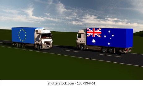 Trade between Australia and EU. Free trade agreement. FTA. 3d-illustration