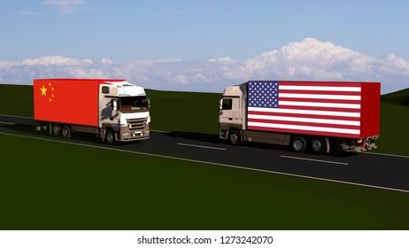 Trade between USA and China - Import, Export Trade blockade