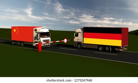 Trade blockade between germany and china - Import, Export, Customs / 3d render
