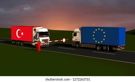 Trade blockade eu and china - Import, Export, Customs /3D rendering