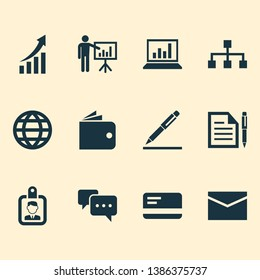 Trade icons set with structure, wallet, bank card and other pen elements. Isolated  illustration trade icons.