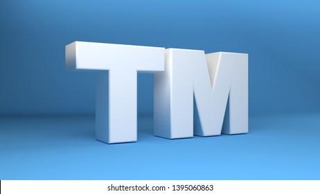 Trade Mark sign 3d symbol in white on blue background 3d illustration