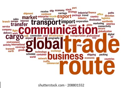 Trade route concept word cloud background