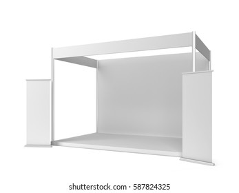Trade show booth with banner. 3d illustration isolated on white background