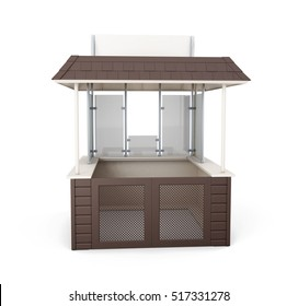 Trade stall isolated on white background. 3d rendering.
