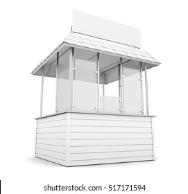Trade stall or promo counter isolated. 3d rendering.