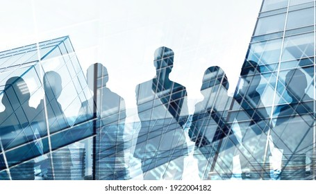 Trade Stock market and Business leader team Silhouette Concept on blue city background for art work design. Double exposure- 3d rendering
